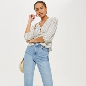 Topshop Betty Striped Keyhole Ruched Top Blouse